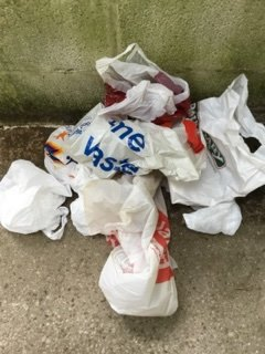 Littered plastic bags