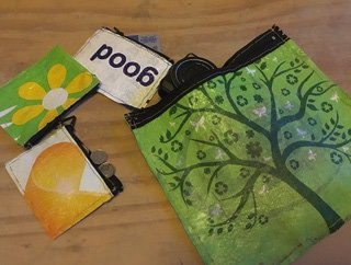 upcycled plastic bags with small upcycled coin pouches