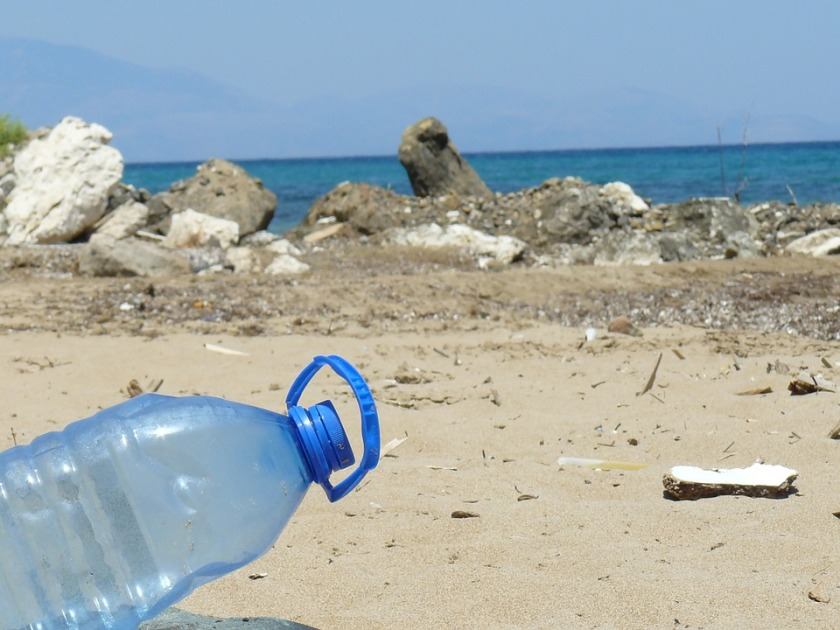plastic bottle by the sea