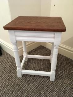 upcycled side table varnished top